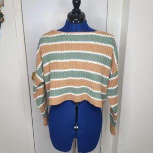 American Eagle Tan Olive Striped Knit Sweater S